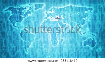 turkey flag on blue digital world map with actual national borders - stock photo
