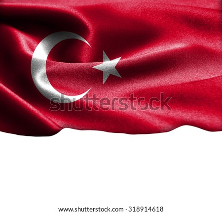 Turkey flag on smooth silk texture Space for Text