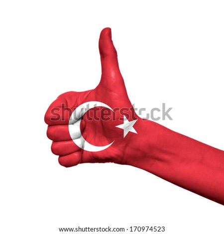 Turkey flag painted on hand over white background
