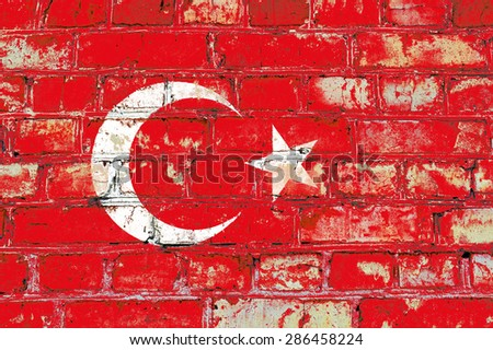 Turkey flag painted on old brick wall texture background - stock photo