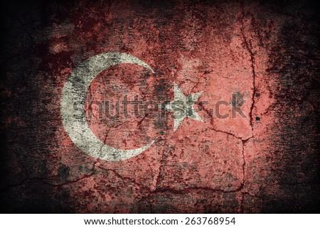 Turkey flag pattern on dirty old concrete wall texture ,retro vintage style - stock photo
