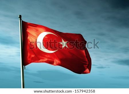 Turkey flag waving in the evening - stock photo