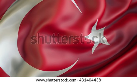 Turkey flag waving in the wind 3d rendering - stock photo