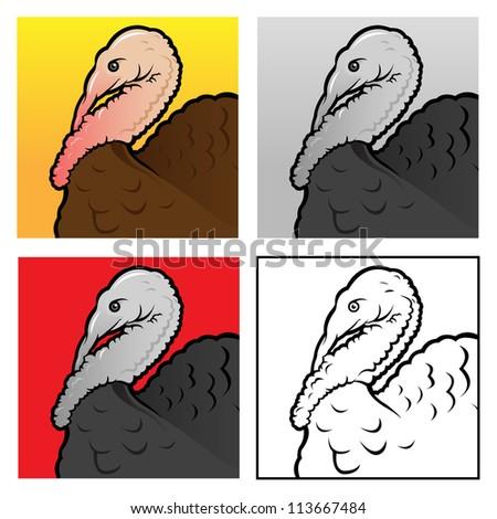 Turkey head, 4 version illustrations - stock photo