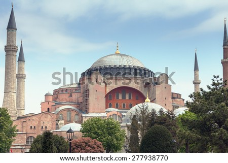 TURKEY, ISTANBUL - APRIL 30, 2015: Saint Sophia Cathedral (Hagia Sophia) - Masterpiece of Byzantine architecture in Istanbul - stock photo