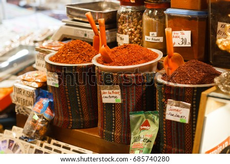 Turkey Istanbul 28.06.17   Colorful spices at spice bazaar in Istanbul, Turkey.