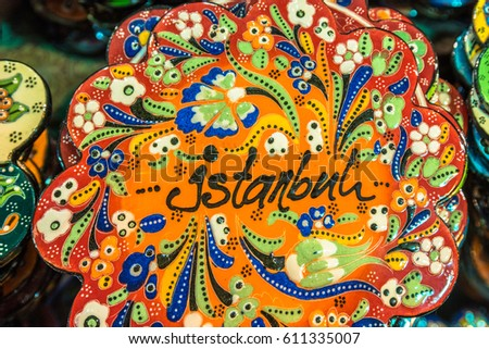 TURKEY -ISTANBUL:4 FEBRUARY 2017: Souvenirs with istanbul popular landmarks on colorful magnets, Turkey bazaar.Colorful magnet souvenirs at a souvenir shop. They are a popular souvenir for tourists