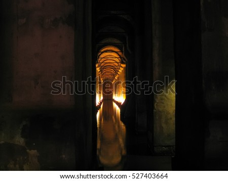 TURKEY, ISTANBUL - JANUARY 8/2013: Beautiful Basilica Cistern opened to visitors after restoration.