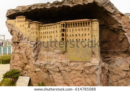 Turkey, Istanbul - March 09, 2017: The copy of  Sumela Monastery in Miniaturk, Istanbul