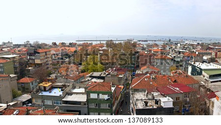 Turkey, Istanbul. Panorama of residential areas on the bank of Bosporus