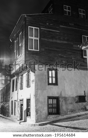 Turkey. Istanbul. The old wooden house on a narrow street in area Sultanahmet