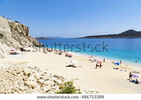 TURKEY, KAPUTAS BEACH - MAY 29: Tourists on famous Kaputas beach near Kas city on May 29, 2016 in Turkey
