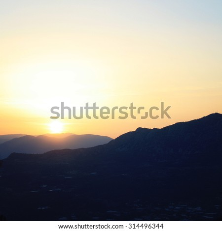 Turkey landscape on sunset. Mountains near Adrasan. Quiet spring evening. Retro filter photo. Walking the Turkey's Lycian Way. Antalya Province, Turkey. - stock photo