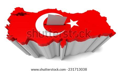 Turkey Map Ballot Box with Turkish Flag. Isolated on white background. - stock photo