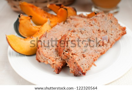 Turkey meatloaf with roasted squash horizontal - stock photo