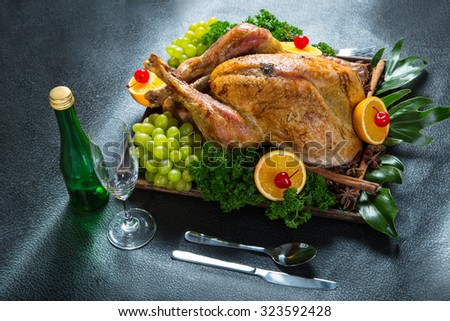 Turkey roast Chicken for celebration on christmas day - stock photo