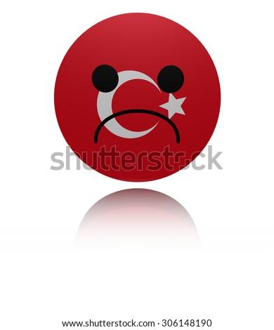 Turkey sad icon with reflection illustration - stock photo