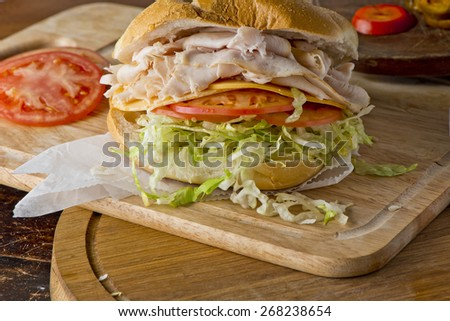 Turkey Sandwich with Cheddar Cheese - stock photo