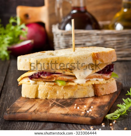 Turkey sandwich with cheese sauce and beetroot jam closeup. - stock photo