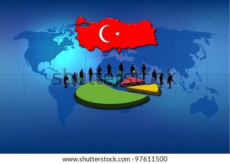 Turkey: statistics and work team - stock photo