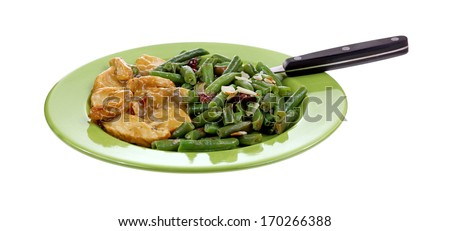 Turkey tenderloin slices in gravy with cut beans, cranberries, slivered almonds on a green plate with fork on white.  - stock photo