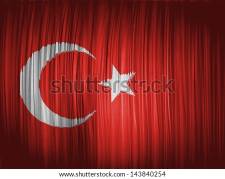 Turkey. Turkish flag  wavy curtain - stock photo