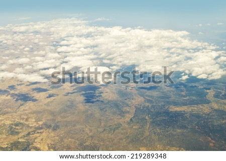Turkey view from the plane - stock photo