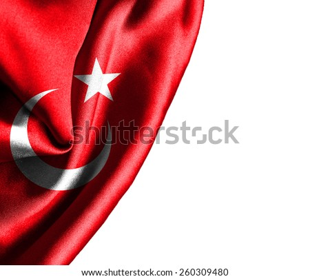 Turkey waving silky flag isolated on white background