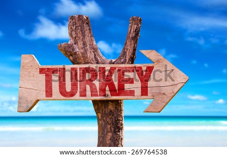 Turkey wooden sign with beach background - stock photo
