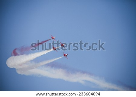 Turkish Air Force aerobatic demonstration team Turkish Stars are flying on the sky which called for 14 August 2014.  - stock photo