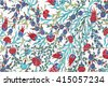 Turkish artistic wall tile - floral pattern - stock photo