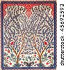 Turkish artistic wall tile - tree design - stock photo