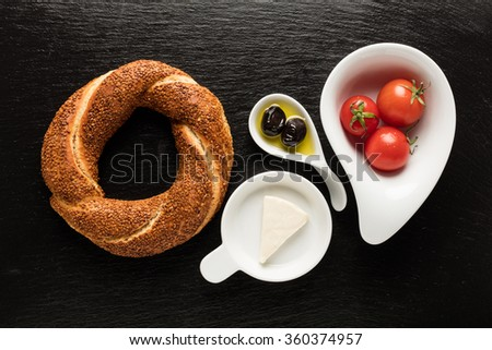 Turkish Bagel / Tomato / Olive / Cheese - Simit