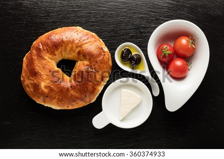 Turkish Bagel / Tomato / Olive / Cheese - Simit - Acma