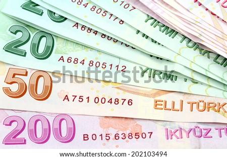 Turkish banknotes. Turkish Lira ( TL ). Macro shot. - stock photo