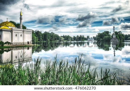 Turkish bath and Chesme Column by Big Lake in Catherine Park ( Pushkin), St.Petersburg