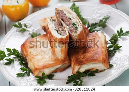 Turkish borek phyllo pastry filled with beef and sheep burger meat