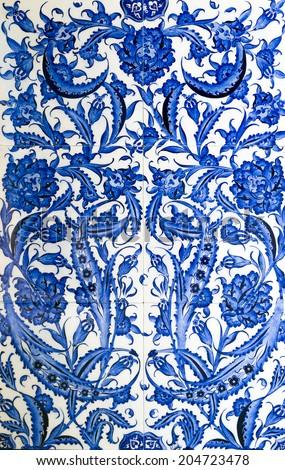 Turkish ceramic tiles wall background - stock photo