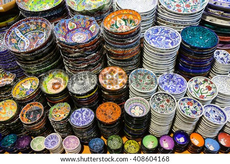 Turkish Ceramics in Grand Bazaar, Istanbul City, Turkey