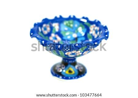 Turkish ceramics kutahya on the white background - stock photo