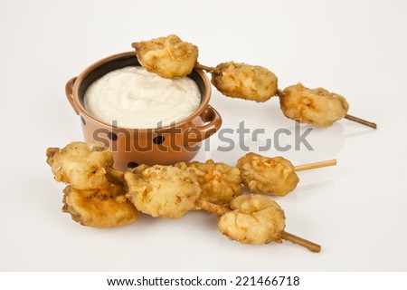 Turkish chop Fried mussels / Midye Tava with white background - stock photo