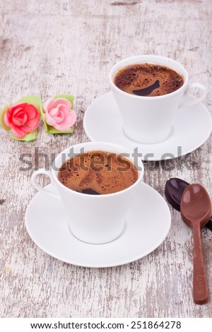turkish coffee and chocolate - stock photo