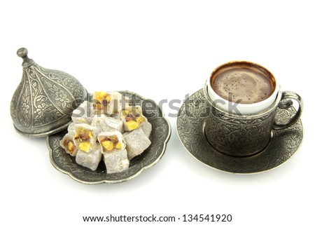 Turkish coffee and turkish delight - stock photo