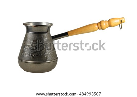 Turkish coffee pot jezve isolated on white background