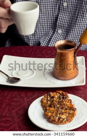 Turkish coffee serve  - stock photo