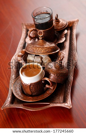 Turkish Coffee Served with vintage style