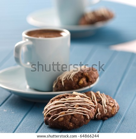 turkish coffee with chocolate cookie - stock photo