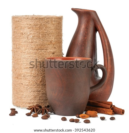 Turkish coffee with spices and milk isolated on white background - stock photo