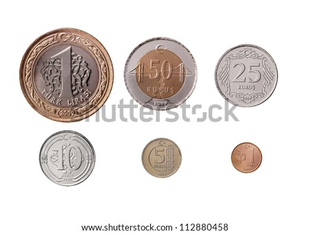 Turkish Coins on white background - stock photo