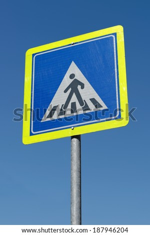 Turkish crosswalk sign, showing pedestrians the place to cross the road, Istanbul / TURKEY - stock photo